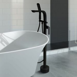 details about floor mount matte black tub filler freestanding bath faucet hand shower brass
