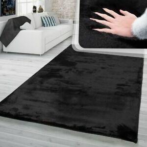 details sur tapis a poils longs tapis shaggy pour salon doux uni noir