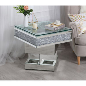 details about mirrored coffee end table embedded crystals modern deco living dining room 24