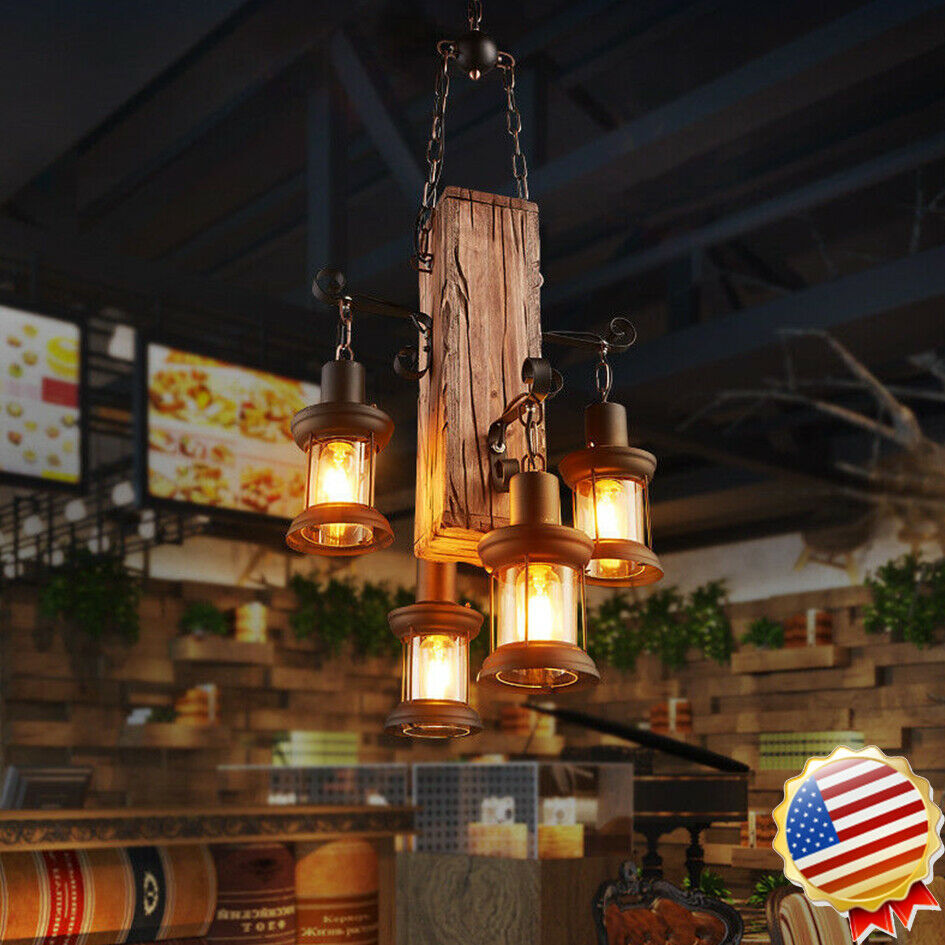 4 heads wood chandelier iron ceiling