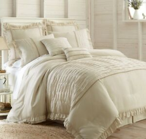 details about classic shabby chic ivory off white textured comforter cal king queen 8 pcs set