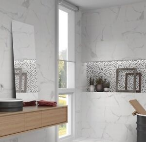 details about palace white carrara marble effect flat wave gloss ceramic wall tiles 30x60 cm