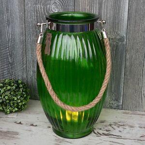 Details Zu Xl Windlicht Glas Grün Maritim Mit Kordel 38cm Groß Laterne Garten Deko Vase Neu
