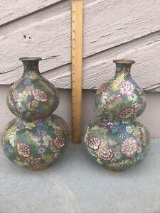 Fine Antique Chinese Collection Cloissone Double Gourd Millefleur Vase Pair NR