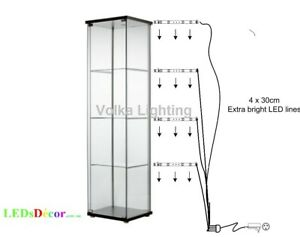 details about glass display cabinet lights cool white