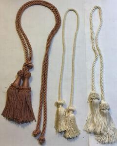 details about lot 3 vintage tassel cord drapes curtain tie backs rope fringe ecru salmon