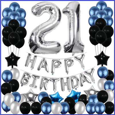 21st Birthday Decorations 21 Party Decoration Balloons Supplies Blue Silver 604213435644 Ebay