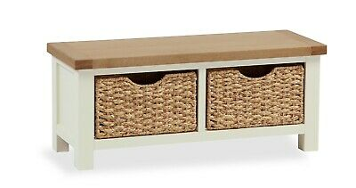 hampshire cream painted oak small storage bench with baskets seating bench ebay