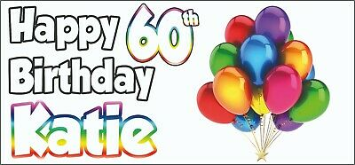 Greeting Cards Party Supply Party Supplies 2 Personalised Rainbow 60th Birthday Banner Decorations Ladies Mens Adults
