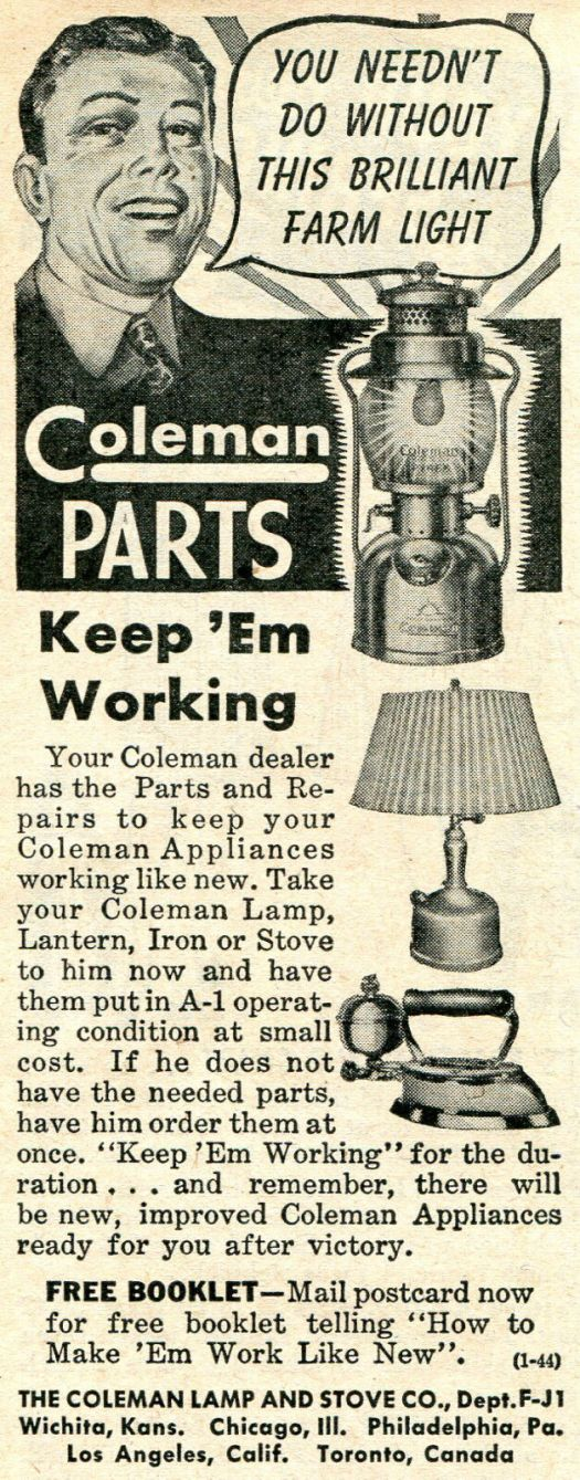 s l1600 - Appliance Repair Parts 1944 small Print Ad of Coleman Lamp & Stove Co Lantern Iron Stove Parts Dealer