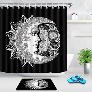 details about black and white design crescent moon and sun shower curtain set bathroom decor