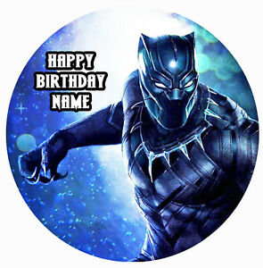 Black Panther Edible Image Personalised Icing Cake Topper Round Party Decoration Ebay