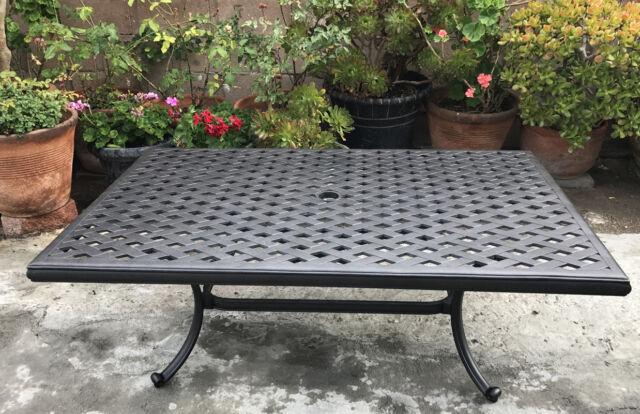 outdoor coffee table cast aluminum rectangular porch patio garden nassau decor