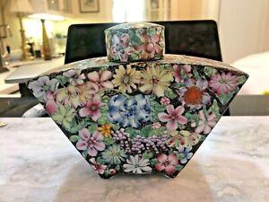 Vintage Fan Shaped Chinese Porcelain Tea caddy