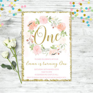 Floral First 1st Birthday Invitation Blush Pink Gold Confetti Girls Party Invite Ebay