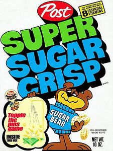 1972 Super Sugar Crisp Cereal Box High Quality Metal Magnet 3 x 4 inches 9612 | eBay