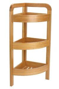 details sur etagere d angle en bambou naturel 3 niveaux salle de bain cuisine h 61 cm