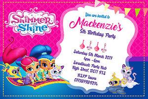 Personalised Shimmer And Shine Birthday Party Invites Inc Envelopes Ebay