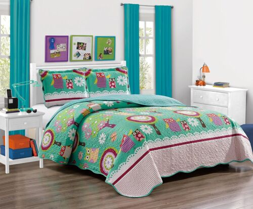fancy linen 2pc twin bedspread quilt teens girls owl fox teal green aqua new