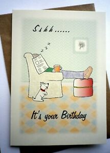 Hand Made Humorous Happy Birthday Card Man In Chair With Dog Sshh Ebay