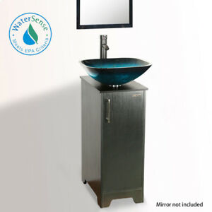 details about 14 eclife small bathroom vanity cabinet vessel glass sink w faucet drain combo