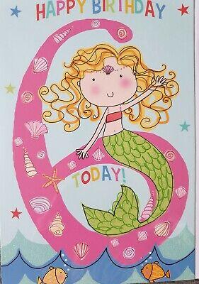 Happy Birthday 6 Heute Madchen 6th Geburtstagskarte Meerjungfrau Ebay