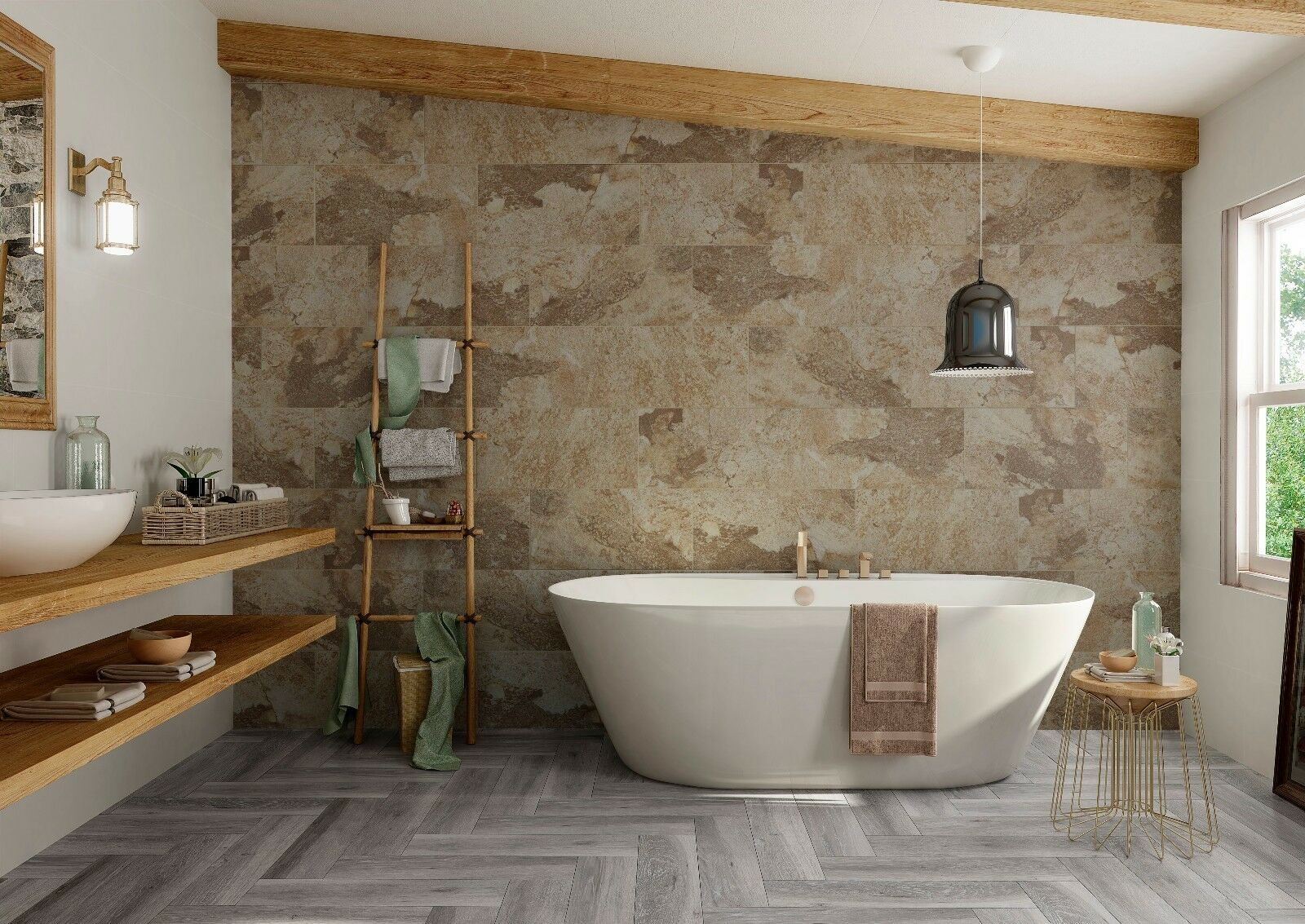 Bengal Beige Natural Stone/Slate Effect Porcelain Bathroom