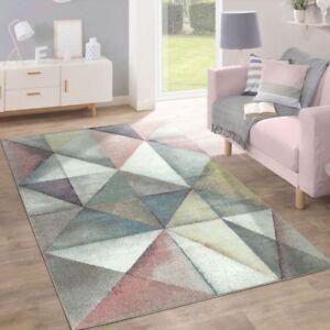 details sur tapis moderne pastel triangle design colore