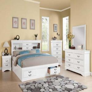 New Modern White Cal King Bedroom Set Bed W/ Storage ...