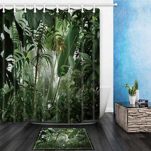 Jungle Banana Leaves Design Bathroom Bath Waterproof Fabric Shower Curtain Set EBay