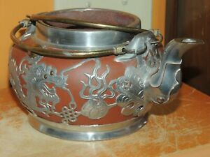 "Antique Chinese 5.5"" Yixing Zisha Teapot pewter dragon marked Shanghai China"