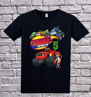 Blaze And The Monster Machines Boy Birthday Shirt Personalized Tshirt Black Ebay