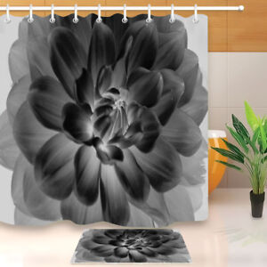 details about blooming black and white flower shower curtain set waterproof fabric hooks 72