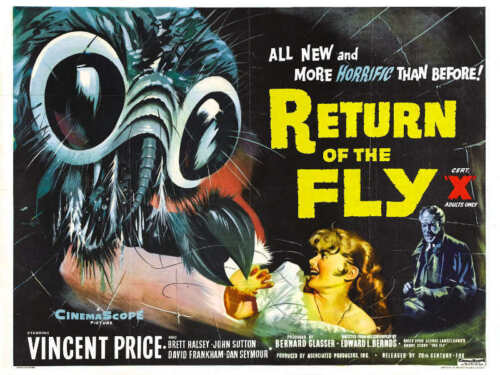 1959 return of the fly vintage horror movie poster print style b 18x24 9 mil art posters art