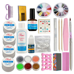 Pro Acrylic Glitter Nail Art Powder Glue File French UV Gel Tips Kit