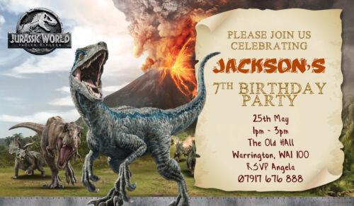 home garden jurassic world dinosaur personalised birthday party invitations kids invites greeting cards invitations plumeriaevents com