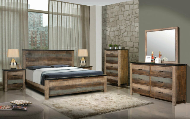 rustic multi tone brown finish 5 piece bedroom set w king size panel bed ia95