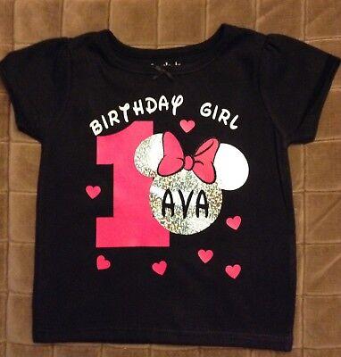 Custom Minnie Mouse Birthday Shirt Black Or White T Shirt Ages 12 Mos To 5 Yrs Ebay