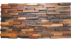 Wood Wall Tiles Rustic Vintage Reclaimed Wooden Wall Decor Decorative Tiles Ebay
