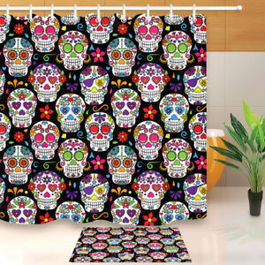 details about polyester fabric day of the dead sugar skull shower curtain liner bath mat hooks