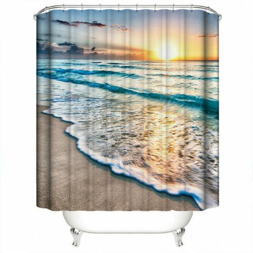 beach ocean shower curtain set non slip bath mat pedestal toilet cover lid rug