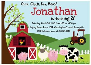 Farm Animal Petting Zoo Birthday Party Invitation Ebay