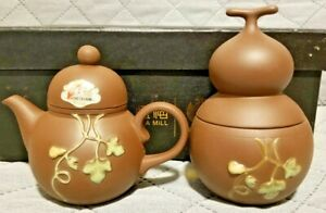Chinese Yixing Zisha Clay Teapot Set With Tea Caddy