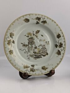 Chinese Antique Grisaille Precious Object Porcelain Plate 18th century QING ,
