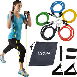 Resistance Bands Set Yoga Pilates Latex Exercise Fitness Tube Workout Band 11PCS