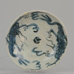 Antique Chinese 17th Porcelain Ming China Swatow Zhanghou Dragons