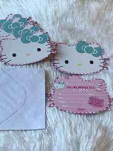 details about x6 hello kitty birthday invitation cards envelopes kids party invites pink