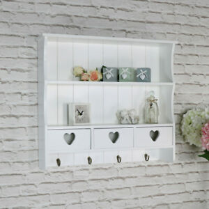 White Wall Shelving Unit Vintage French 2 Shelf Bedroom Bathroom Hallway Storage Ebay