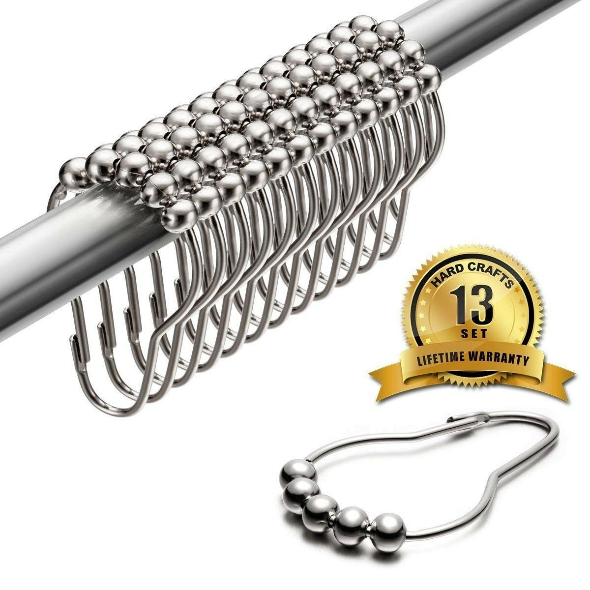 Details About Shower Curtain Hooks 100 Rustproof Stainless Steel 13 Rings