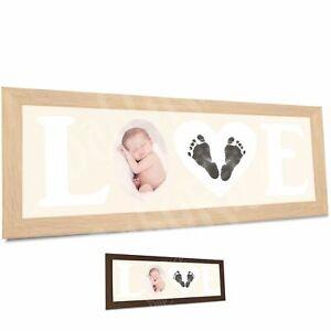details sur neuf bebe main et empreinte de pied kit bois amour cadre pour photo par babyrice